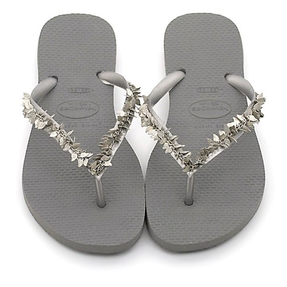 f926154810aa Havaianas Shoes - NEW Havaianas Silver Slim Leaves Flip Flops